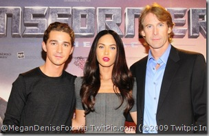 Shia LaBeouf, Megan Fox, & Michael Bay @ Press Conference in Berlin.  [click to enlarge]