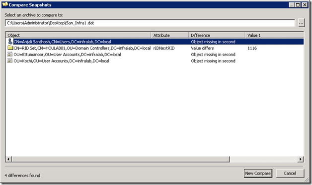 Active Directory Snapshot Creation and Comparison Using AD