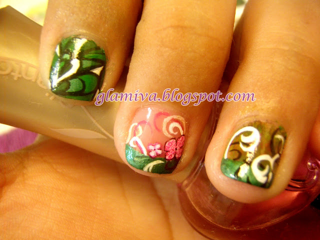 nail art picture designs on green french