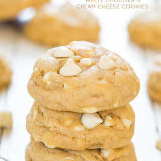 Soft and Chewy White Chocolate Cream Cheese Cookies.
