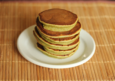 photo of a stack of Matcha pancakes