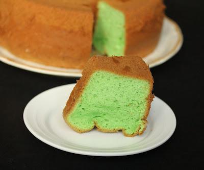 close-up photo of a slice of Pandan Chiffon Cake