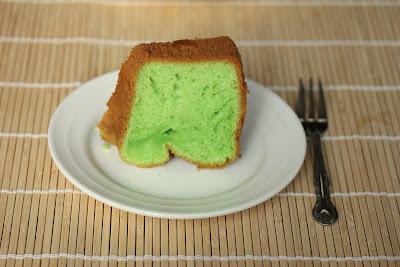 photo of a piece of Pandan Chiffon Cake