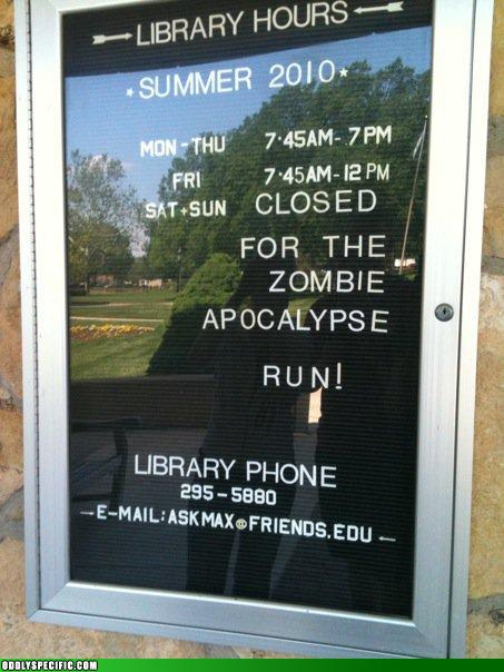 photo of library sign showing a zombie apocalypse