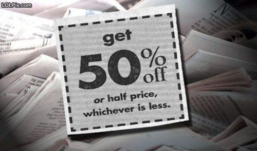 photo of a half-off or fifty percent ad