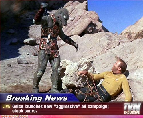 photo of the lizard alien from Star Trek fighting Kirk w/ a funny caption