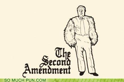 image of a man with bear arms and the title second amendment