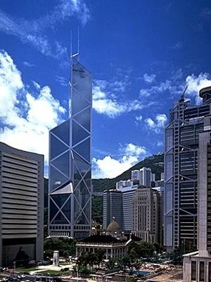 Banco de China en Hong Kong obra del arquitecto Ieoh Ming Pei