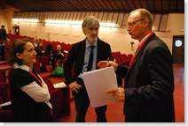 Panelleden vlnr Leila Medjkoune, European Archive Foundation; Luca de Biase, krant Nova-Il sole 24ore en Serge Noiret, European University Institute
