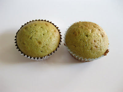 photo of two small matcha green tea yogurt cakes