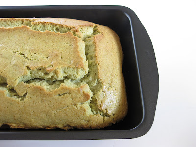 close-up photo of a loaf of match green tea pound cake