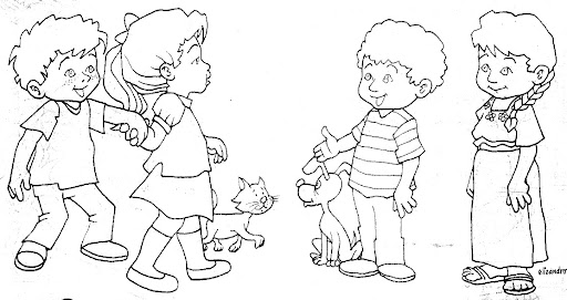 Las Misiones Y Los Niños Dibujos Para Colorear De Niños: Dibujos De Niños Platicando Para Colorear