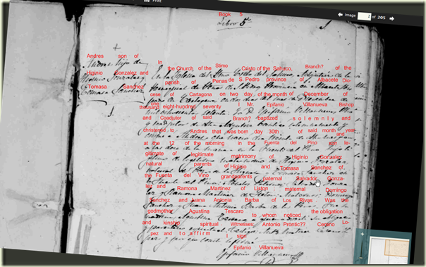 示例来自西班牙阿尔巴塞特的洗礼纪录