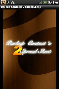 BackupContacts 2 SpreadSheet- screenshot thumbnail