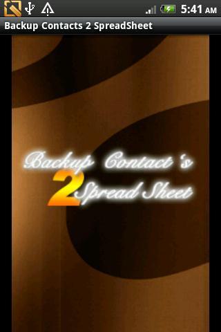 BackupContacts 2 SpreadSheet- screenshot