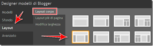 come aggiungere colonna sinistra layout blogger