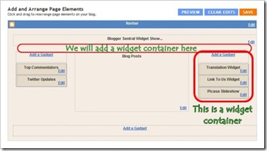 page elements add container