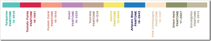 Spring 2010 Color Palette from www.pantone.com