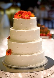 Wedding Cake with Tangerine Gerber Daisies