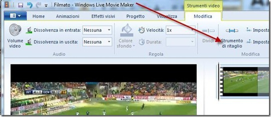 modifica strumenti di ritaglio windows live movie maker