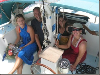 Saskia, Steve, Shannon and Katie on board Manuoku