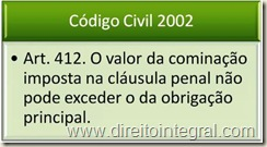 Código Civil de 2002- art. 412 - Limite da Multa.