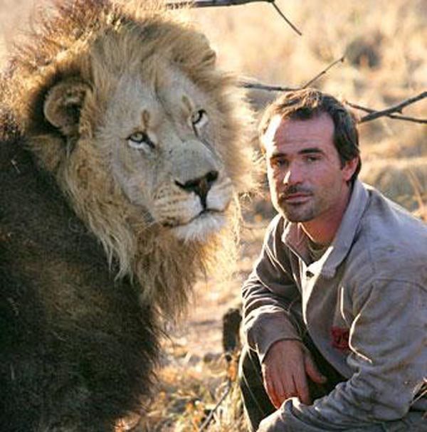 Ranger with a lion