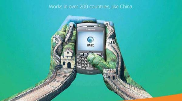 23 creative ads by AT&T [hand-modelling advertisements] - Great wall of China