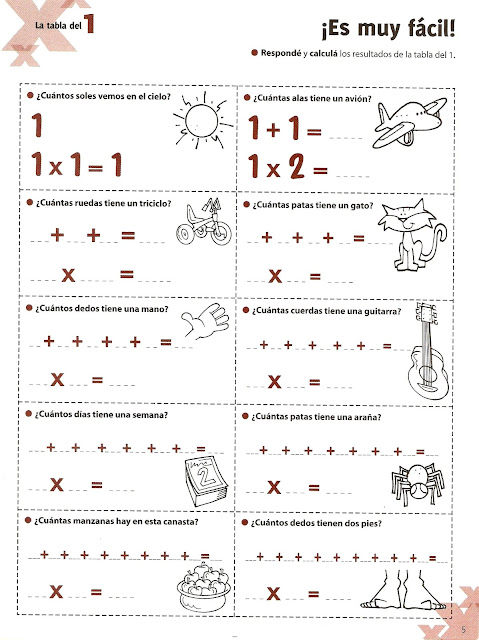 TE CUENTO UN CUENTO Ejercicios de las tablas de multiplicar del 1