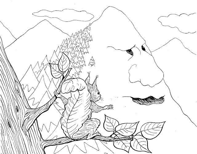 Dibujos Del Cuento La Montaña Y La Ardilla Para Colorear