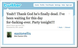 Bret Easton Ellis tweeted