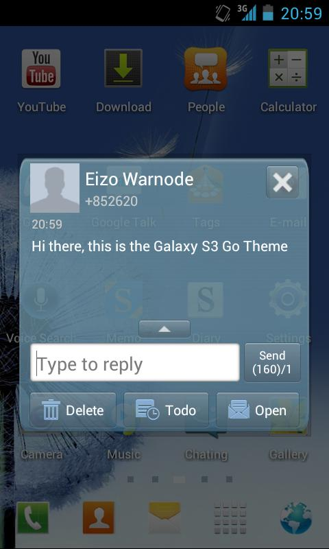 Galaxy S3 Go SMS Pro Theme - screenshot