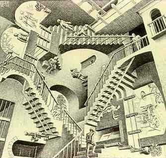 """Relatividad"" (1953) de M. C. Escher"