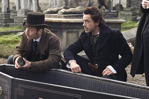 Jude Law as Dr Watson and Robert Downey Jr as Sherlock Holmes