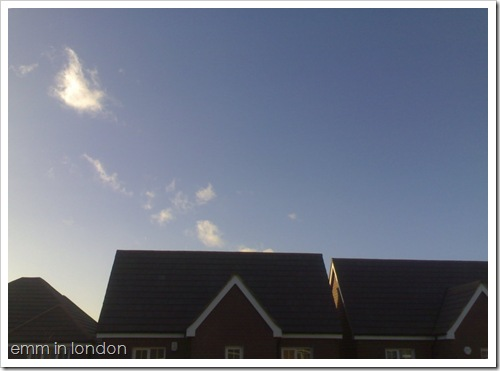 December: sunshine and blue skies
