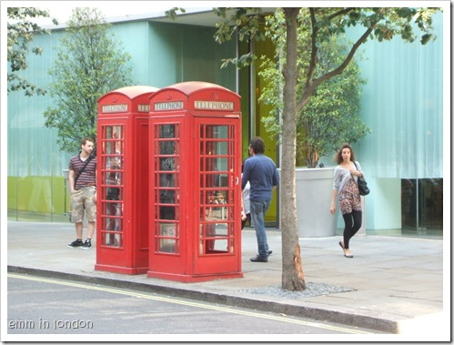 Red telephone boxes London