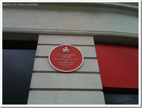 Manchester Piccadilly football plaque