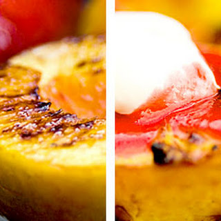 Peaches with Fresh Raspberry Sauce.