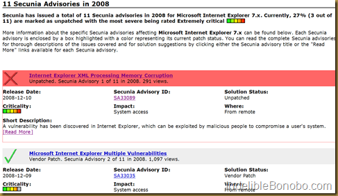 secunia Internet Explorer Critical Issue Advisory