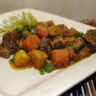 Lamb Curry with Winter Vegetables and Spinach.