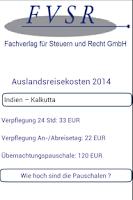 Screenshot of Auslandsreisekosten Pauschalen