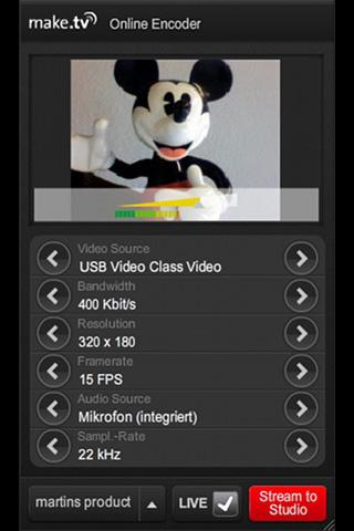 make.tv Broadcaster - screenshot