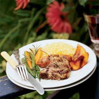 Lamb and Sausage Mixed Grill with Molasses-glazed Nectarines.
