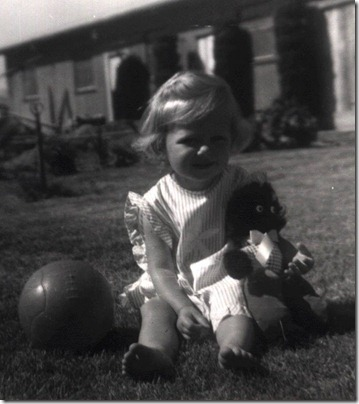 Janice with Golly and ball 1966