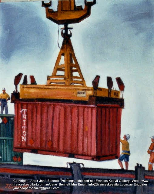 Marine art - plein air oil painting of  wharfies, ship and container at the Hungry Mile, now Barangaroo by artist Jane Bennett