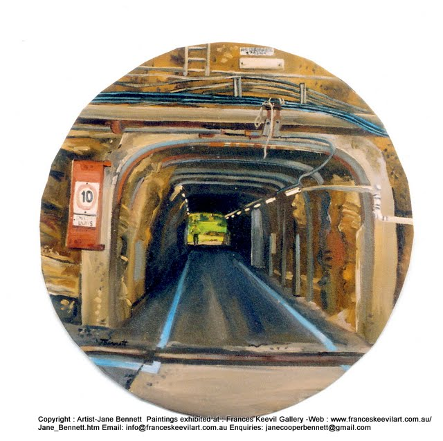 oil painting of the tunnel on Cockatoo Island  by artist Jane Bennett