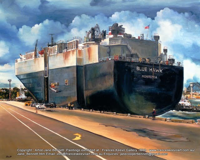 oil painting  of the last car ship at Glebe Island wharf  the Sydney Harbour Bridge in the background by artist Jane Bennett
