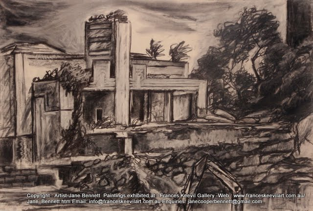 plein air charcoal drawing of the Walter Burley Griffin incinerator in Pyrmont  by industrial heritage artist Jane Bennett
