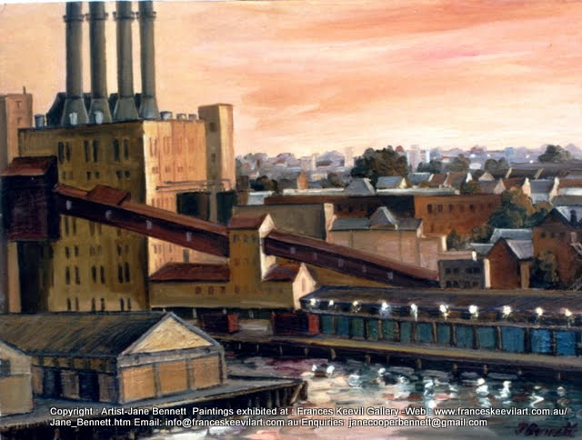 plein air oil painting of Pyrmont Power Station from Millers Point by industrial heritage artist  Jane Bennett