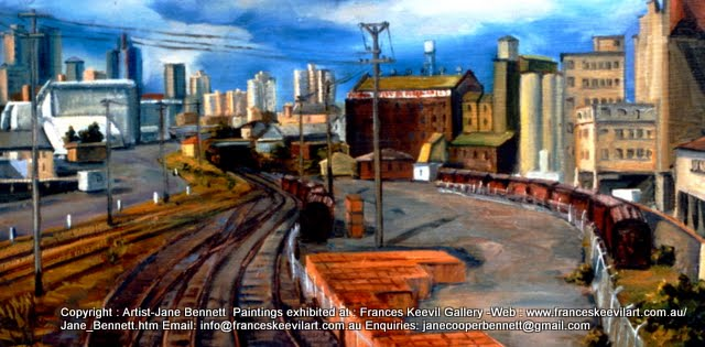 plein air oil painting of Pyrmont Power Station and Darling Island Goods Yard with Australian National Maritime Museum in Pyrmont  by industrial heritage artist Jane Bennett